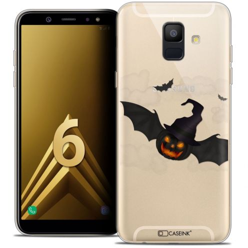 "Coque Crystal Gel Samsung Galaxy A6 2018 (5.45"") Extra Fine Halloween - Chauve Citrouille"