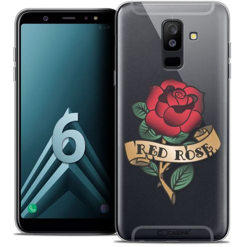 "Coque Crystal Gel Samsung Galaxy A6 PLUS 2018 (6"") Extra Fine Tatoo Lover - Red Rose"