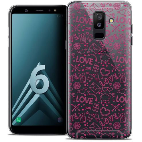 "Coque Crystal Gel Samsung Galaxy A6 PLUS 2018 (6"") Extra Fine Love - Doodle"