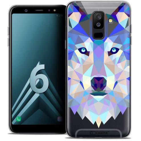 """Coque Crystal Gel Samsung Galaxy A6 PLUS 2018 (6"""") Extra Fine Polygon Animals - Loup"""