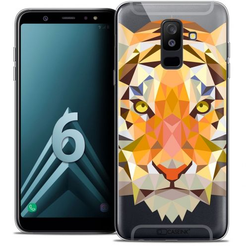 "Coque Crystal Gel Samsung Galaxy A6 PLUS 2018 (6"") Extra Fine Polygon Animals - Tigre"