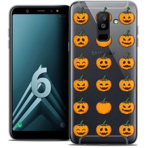 "Coque Crystal Gel Samsung Galaxy A6 PLUS 2018 (6"") Extra Fine Halloween - Smiley Citrouille"