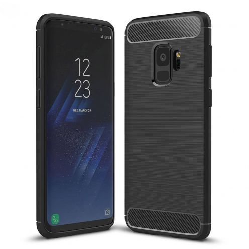 "Coque Samsung Galaxy S9 (5.8"") Hybrid Series Carbon Brush Noir"