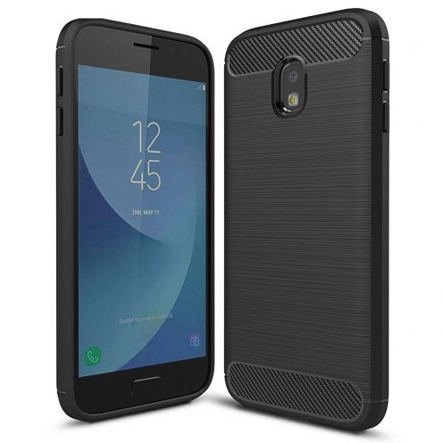 "Coque Samsung Galaxy J3 2017 J330 (5"") Hybrid Series Carbon Brush Noir"