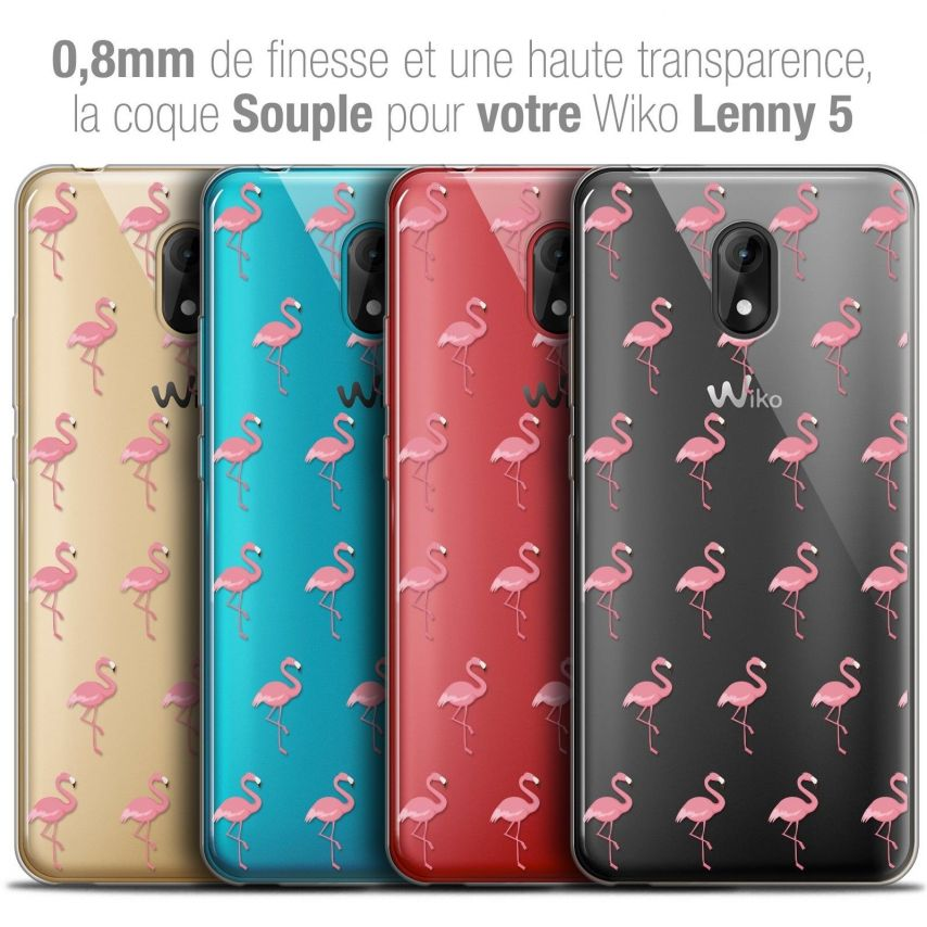 "Coque Crystal Gel Wiko Lenny 5 (5.7"") Extra Fine Pattern - Les flamants Roses"