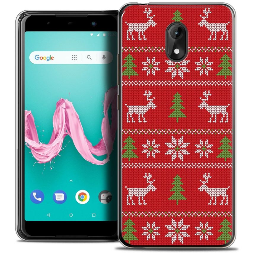 """Coque Crystal Gel Wiko Lenny 5 (5.7"""") Extra Fine Noël 2017 - Couture Rouge"""