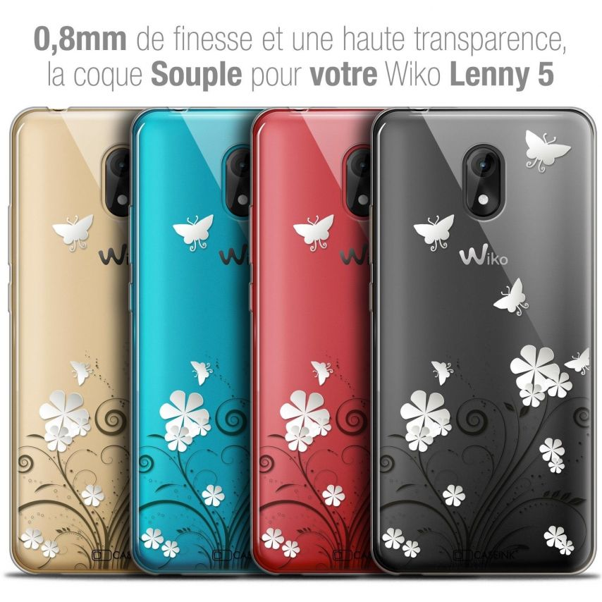 """Coque Crystal Gel Wiko Lenny 5 (5.7"""") Extra Fine Summer - Papillons"""