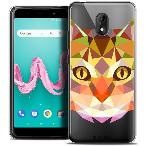 "Coque Crystal Gel Wiko Lenny 5 (5.7"") Extra Fine Polygon Animals - Chat"