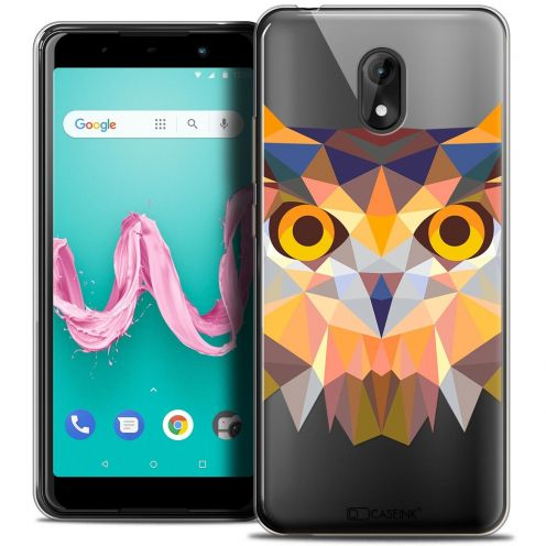 "Coque Crystal Gel Wiko Lenny 5 (5.7"") Extra Fine Polygon Animals - Hibou"