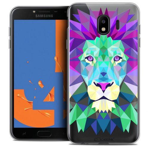 """Coque Crystal Gel Samsung Galaxy J4 2018 J400 (5.5"""") Extra Fine Polygon Animals - Lion"""
