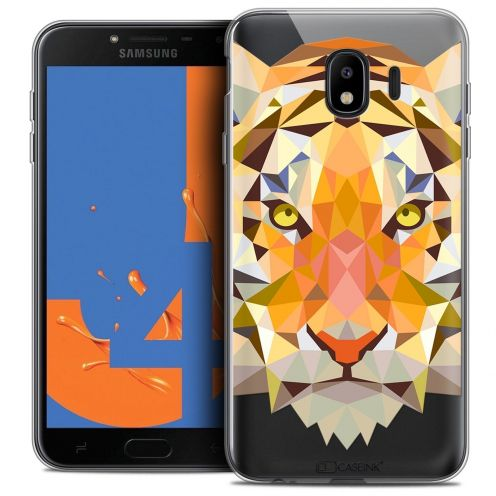 "Coque Crystal Gel Samsung Galaxy J4 2018 J400 (5.5"") Extra Fine Polygon Animals - Tigre"