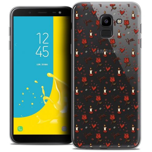 "Coque Crystal Gel Samsung Galaxy J6 2018 J600 (5.6"") Extra Fine Love - Bougies et Roses"