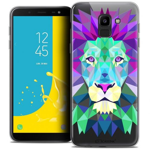 """Coque Crystal Gel Samsung Galaxy J6 2018 J600 (5.6"""") Extra Fine Polygon Animals - Lion"""