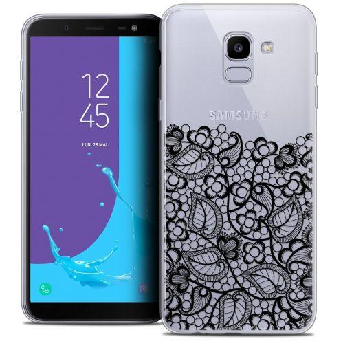 """Coque Crystal Gel Samsung Galaxy J6 2018 J600 (5.6"""") Extra Fine Spring - Bas dentelle Noir"""