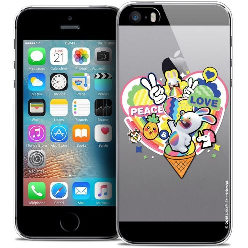 Coque iPhone 5/5s/SE Extra Fine Lapins Crétins™ - Peace And Love