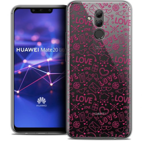 "Coque Crystal Gel Huawei Mate 20 Lite (6.3"") Extra Fine Love - Doodle"
