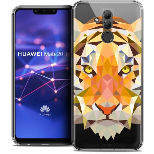 "Coque Crystal Gel Huawei Mate 20 Lite (6.3"") Extra Fine Polygon Animals - Tigre"