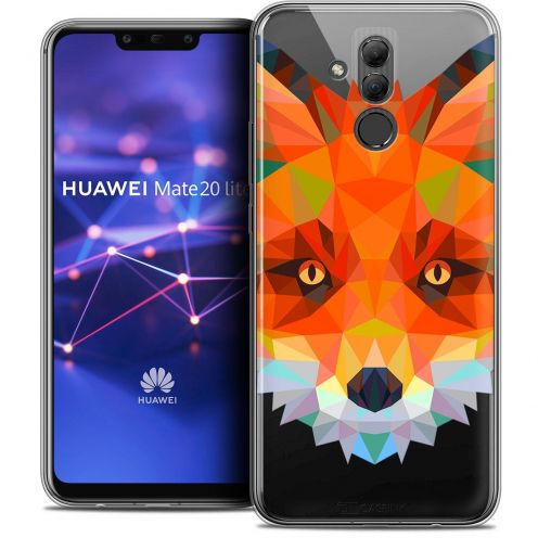 "Coque Crystal Gel Huawei Mate 20 Lite (6.3"") Extra Fine Polygon Animals - Renard"