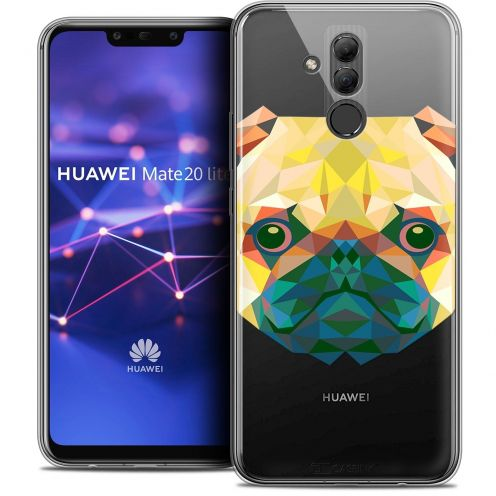 "Coque Crystal Gel Huawei Mate 20 Lite (6.3"") Extra Fine Polygon Animals - Chien"