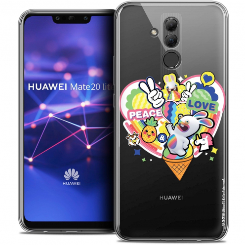 "Coque Gel Huawei Mate 20 Lite (6.3"") Extra Fine Lapins Crétins™ - Peace And Love"