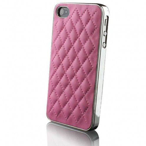Coque iPhone 4S / 4 DELUXE Cuir & Chrome Rose