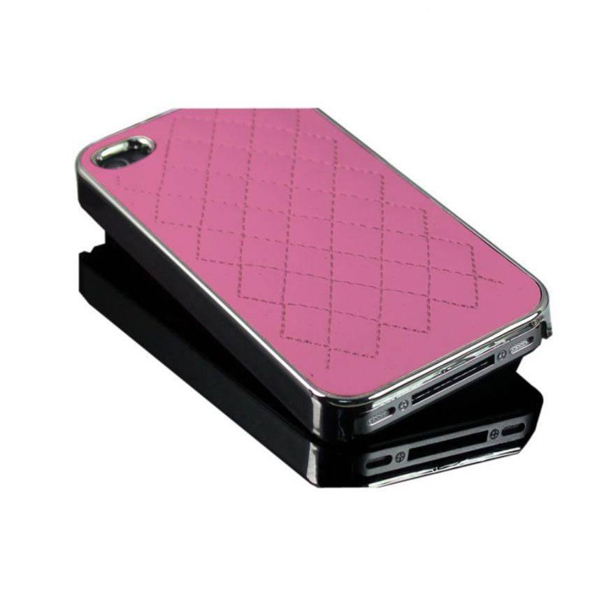Vue complémentaire de Coque iPhone 4S / 4 DELUXE Cuir & Chrome Rose