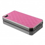 Photo réelle de Coque iPhone 4S / 4 DELUXE Cuir & Chrome Rose