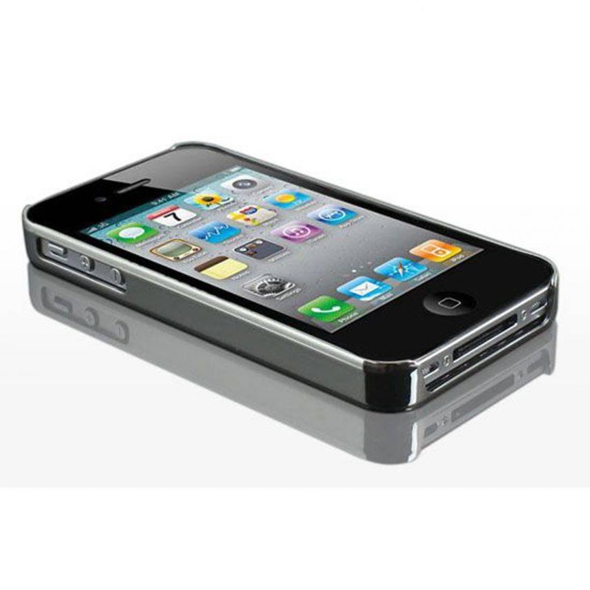 Vue portée de Coque iPhone 4S / 4 DELUXE Cuir & Chrome Rose