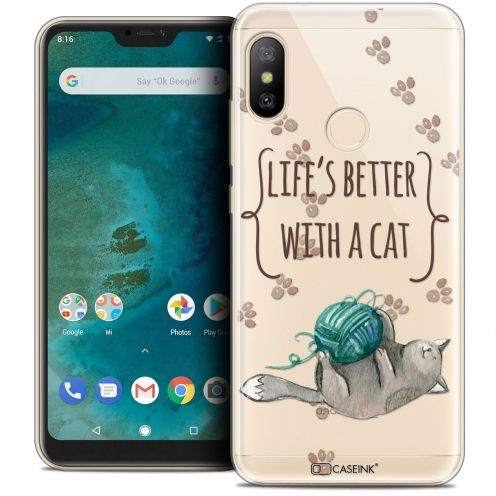 """Coque Crystal Gel Xiaomi Mi A2 LITE (5.8"""") Extra Fine Quote - Life's Better With a Cat"""