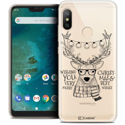 """Coque Crystal Gel Xiaomi Mi A2 LITE (5.8"""") Extra Fine Noël 2017 - Cerf Hipster"""