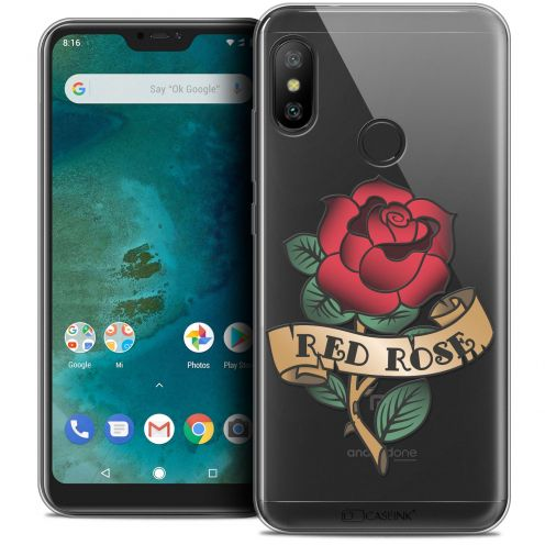 "Coque Crystal Gel Xiaomi Mi A2 LITE (5.8"") Extra Fine Tatoo Lover - Red Rose"