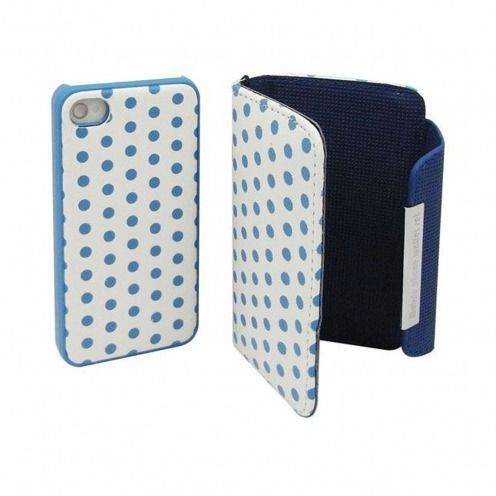 Etui iPhone 4S / 4 Portefeuille + Coque 2 en 1 Cuir DOTS Bleue