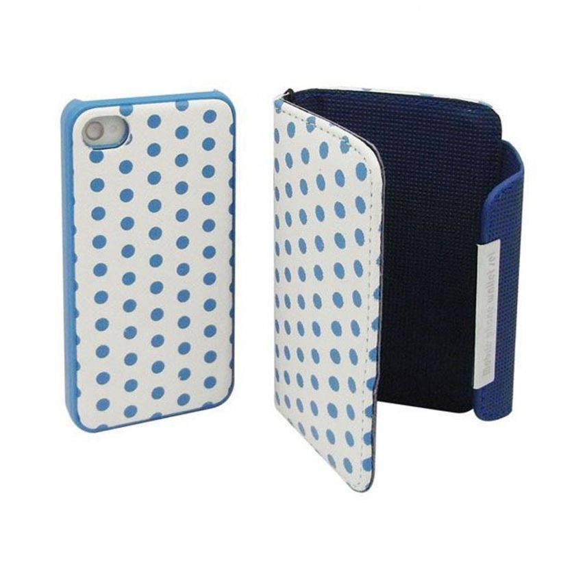 Visuel unique de Etui iPhone 4S / 4 Portefeuille + Coque 2 en 1 Cuir DOTS Bleue