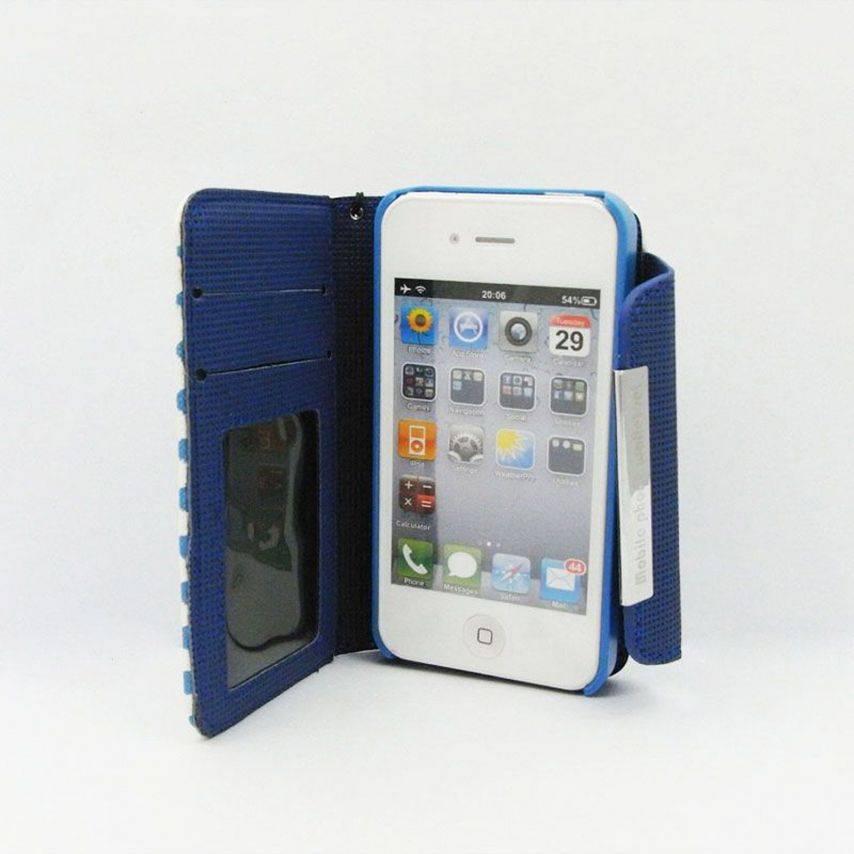 Visuel supplémentaire de Etui iPhone 4S / 4 Portefeuille + Coque 2 en 1 Cuir DOTS Bleue