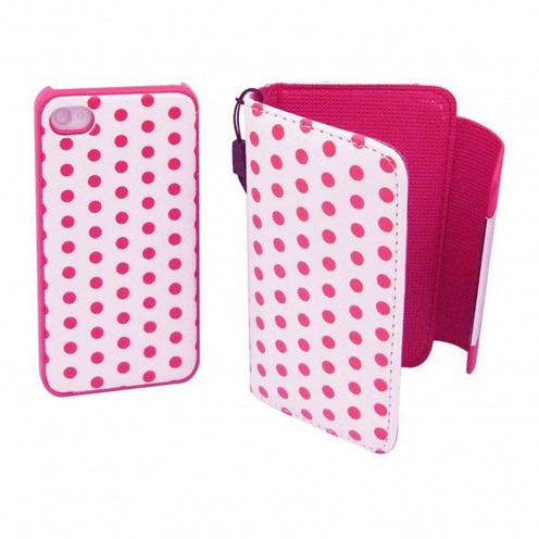 Etui iPhone 4S / 4 Portefeuille + Coque 2 en 1 Cuir DOTS Rose