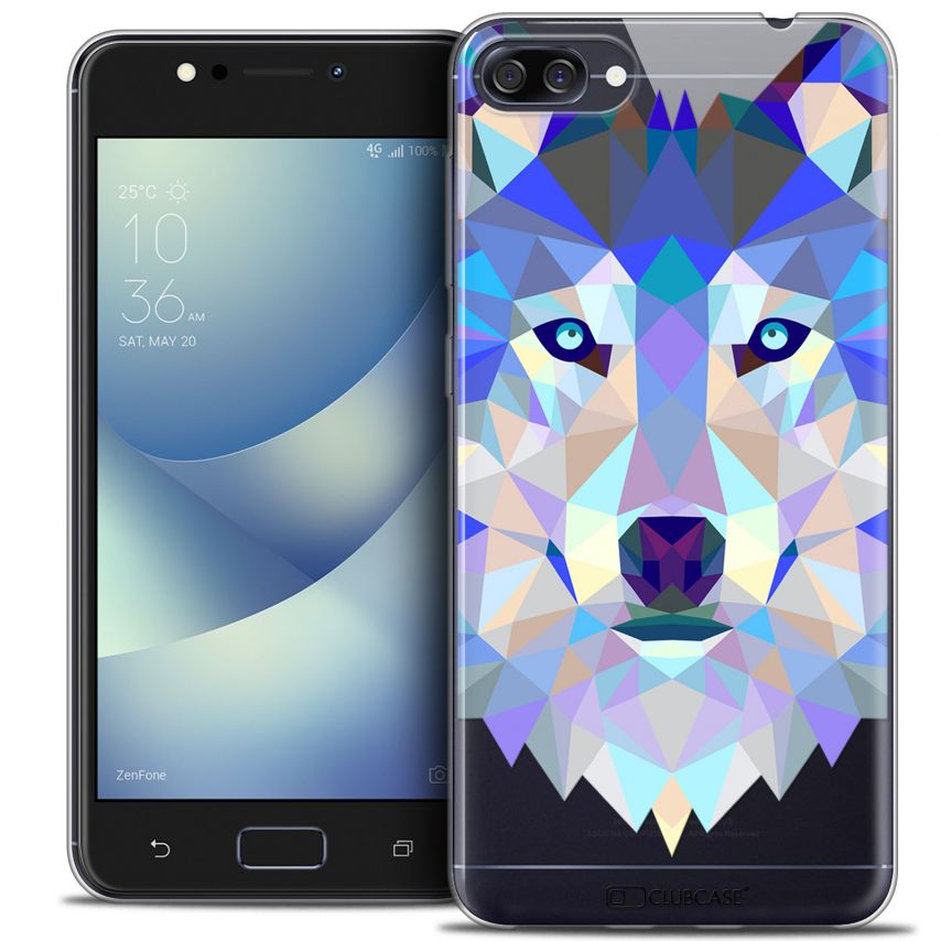 "Coque Crystal Gel Asus Zenfone 4 MAX ZC520KL (5.2"") Extra Fine Polygon Animals - Loup"