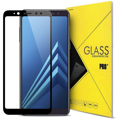 "Protection d'écran Verre trempé Samsung Galaxy A8 2018 A530 (5.6"") 5D Hybrid Full Glue Noir 0.33mm 2.5D"