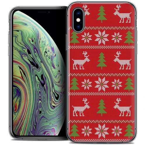 """Coque Crystal Gel Apple iPhone Xs Max (6.5"""") Extra Fine Noël 2017 - Couture Rouge"""
