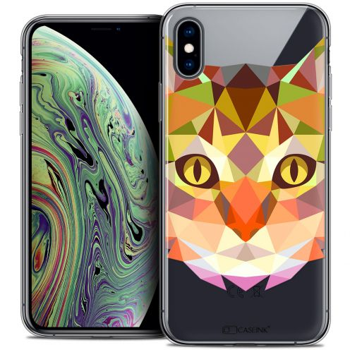 """Coque Crystal Gel Apple iPhone Xs Max (6.5"""") Extra Fine Polygon Animals - Chat"""