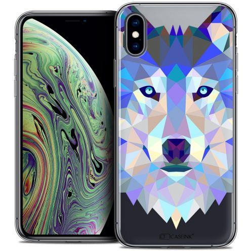 "Coque Crystal Gel Apple iPhone Xs Max (6.5"") Extra Fine Polygon Animals - Loup"