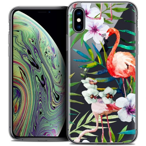 """Coque Crystal Gel Apple iPhone Xs Max (6.5"""") Extra Fine Watercolor - Tropical Flamingo"""