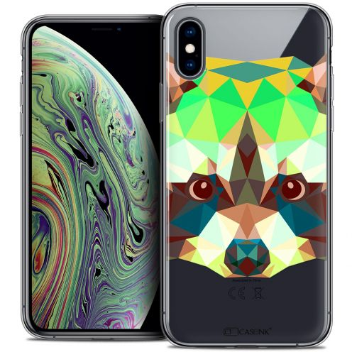 "Coque Crystal Gel Apple iPhone Xs Max (6.5"") Extra Fine Polygon Animals - Raton Laveur"