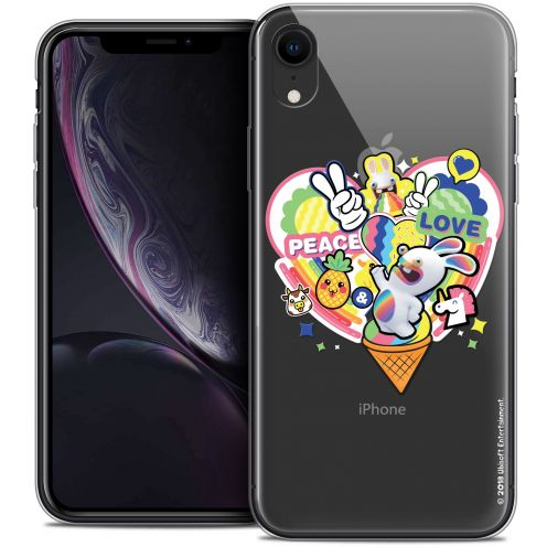 "Coque Gel Apple iPhone Xr (6.1"") Extra Fine Lapins Crétins™ - Peace And Love"