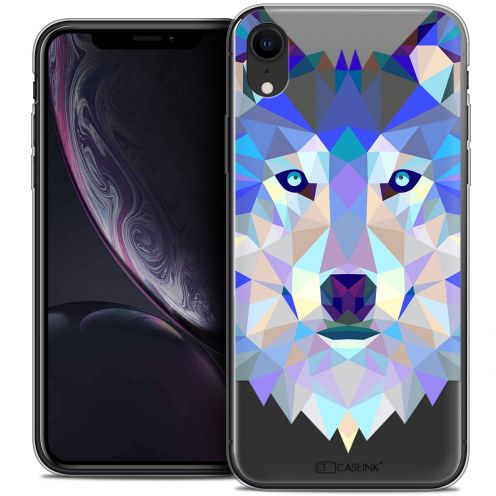 "Coque Crystal Gel Apple iPhone Xr (6.1"") Extra Fine Polygon Animals - Loup"