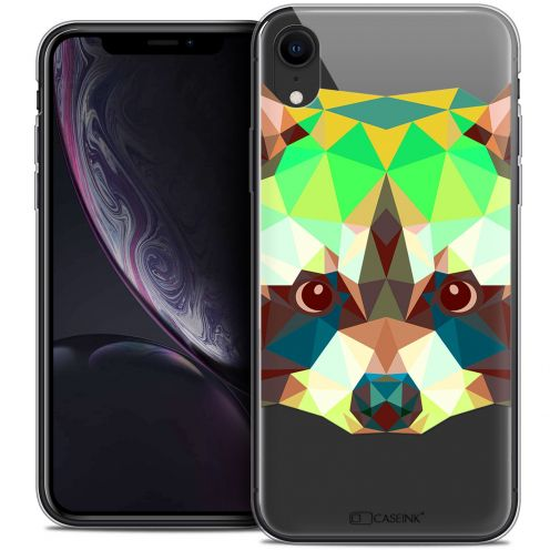 "Coque Crystal Gel Apple iPhone Xr (6.1"") Extra Fine Polygon Animals - Raton Laveur"