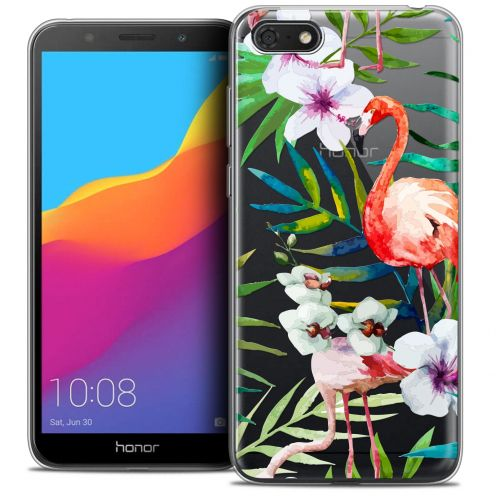 "Coque Crystal Gel Huawei Y5 2018 (5.4"") Extra Fine Watercolor - Tropical Flamingo"