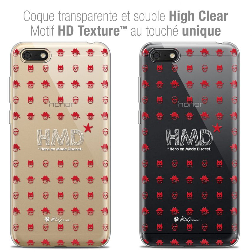 "Coque Gel Honor 7S (5.45"") Extra Fine Petits Grains® - HMD* Hero en Mode Discret"