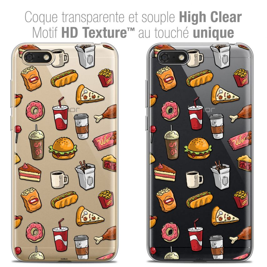 "Coque Crystal Gel Honor 7S (5.45"") Extra Fine Foodie - Fast Food"