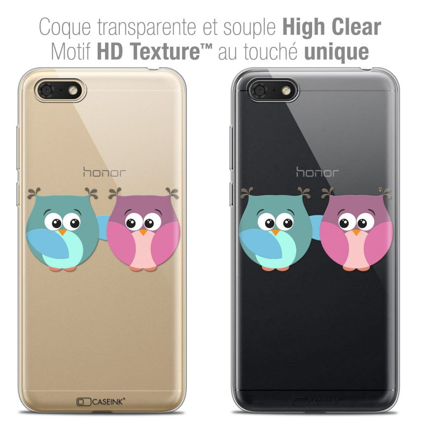 "Coque Crystal Gel Honor 7S (5.45"") Extra Fine Love - Hibous à deux"