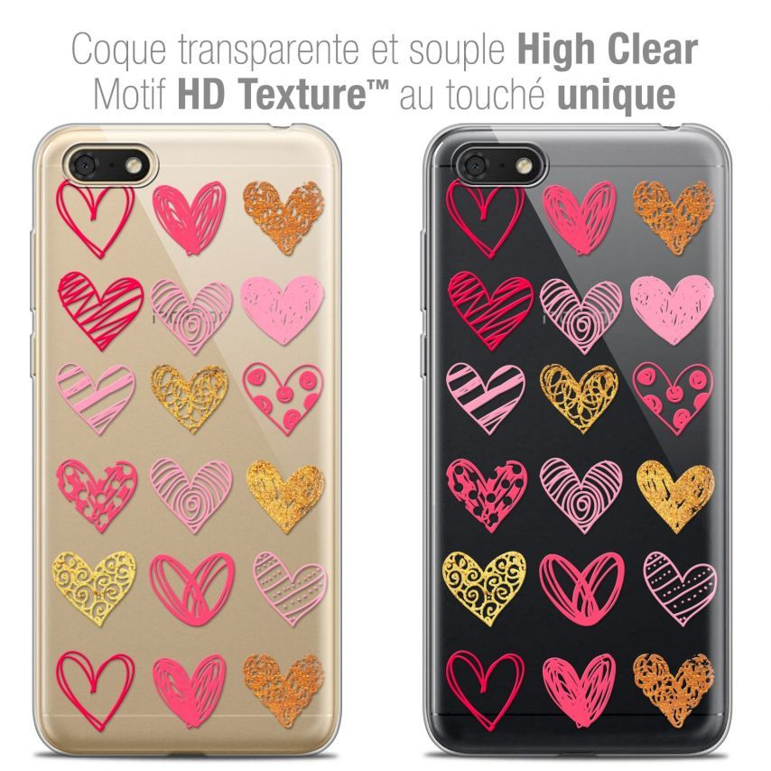 "Coque Crystal Gel Honor 7S (5.45"") Extra Fine Sweetie - Doodling Hearts"